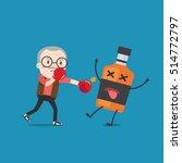 grandpa punching liquor bottles ... | Shutterstock .eps vector #514772797