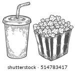 popcorn and soda vector hand... | Shutterstock .eps vector #514783417