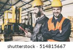 smiling workers in protective... | Shutterstock . vector #514815667