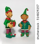 two little christmas elf with... | Shutterstock . vector #514829257