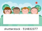 kids peeping behind placard ... | Shutterstock .eps vector #514832377