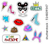colorful fashionable pins ... | Shutterstock . vector #514839547