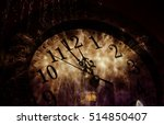 Old Clock With Fireworks And...