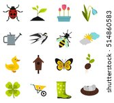 spring icons set. flat... | Shutterstock . vector #514860583