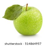 Ripe Green Apple With Leaf...