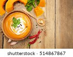 homemade pumpkin soup with... | Shutterstock . vector #514867867