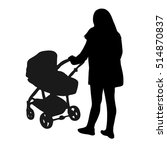 Silhouette Of A Woman Pushing ...