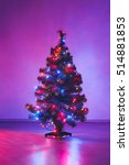 christmas tree with purple... | Shutterstock . vector #514881853