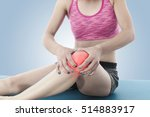 acute pain in a knee. woman... | Shutterstock . vector #514883917