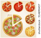 pizza top view set. italian... | Shutterstock .eps vector #514890457