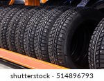 car studded tires in a row on a ... | Shutterstock . vector #514896793