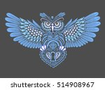 steampunk owl with spread wings ... | Shutterstock .eps vector #514908967