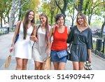 walk four beautiful cheerful... | Shutterstock . vector #514909447