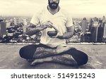 man practice yoga rooftop...   Shutterstock . vector #514915243