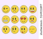 Set Of Emoticons  Smileys Icon...