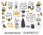 christmas set  hand drawn style ... | Shutterstock .eps vector #514930717