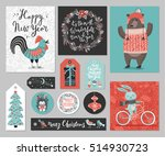 christmas card set  hand drawn... | Shutterstock .eps vector #514930723