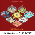 flat isometric shopping mall... | Shutterstock .eps vector #514954747