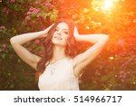 young woman and flowers    Shutterstock . vector #514966717