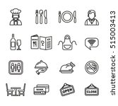 restaurant icons set. line... | Shutterstock .eps vector #515003413