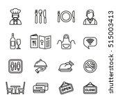 Restaurant icons set. Line Style stock vector. | Shutterstock vector #515003413
