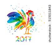 rooster art on a white... | Shutterstock .eps vector #515011843
