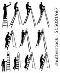 man on ladder silhouettes | Shutterstock .eps vector #515031967