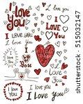 i love you  handwritten sketches | Shutterstock .eps vector #515032147