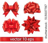 set of red bows.vector... | Shutterstock .eps vector #515037787
