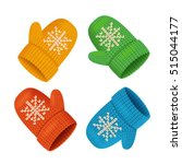 winter mittens colorful set.... | Shutterstock .eps vector #515044177