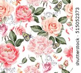 watercolor pattern with peony... | Shutterstock . vector #515052373