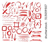 hand drawn sketch red marker ... | Shutterstock . vector #515059507
