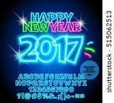 vector colorful neon happy new... | Shutterstock .eps vector #515062513