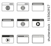 browser vector icons set. black ...