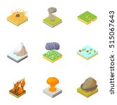 natural occurrence icons set.... | Shutterstock .eps vector #515067643