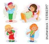 set icons little girl sick | Shutterstock .eps vector #515082397