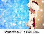 santa claus holding banner... | Shutterstock . vector #515086267