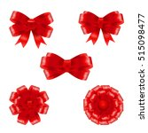 festive set of red gift bows... | Shutterstock .eps vector #515098477