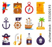 pirate icons set isolated on... | Shutterstock .eps vector #515100193