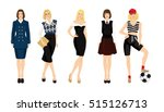 young woman in different clothes | Shutterstock .eps vector #515126713