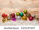 christmas decoration on old... | Shutterstock . vector #515137447