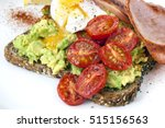 avocado toast with roasted... | Shutterstock . vector #515156563
