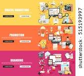 flat concept set of social... | Shutterstock .eps vector #515193997