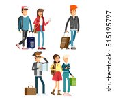 happy young people traveling...   Shutterstock .eps vector #515195797