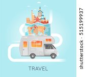 travel by camper russia  usa ... | Shutterstock .eps vector #515199937