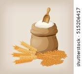 a bag of flour and a shovel ... | Shutterstock .eps vector #515206417