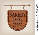 vintage wooden bakery sign... | Shutterstock .eps vector #515206453