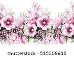 Stock photo  isolated seamless pattern border with flowers leaves vintage watercolor floral pattern flower 515208613