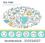 tea time illustration  thin... | Shutterstock .eps vector #515216527