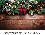 merry christmas frame with real ... | Shutterstock . vector #515223727